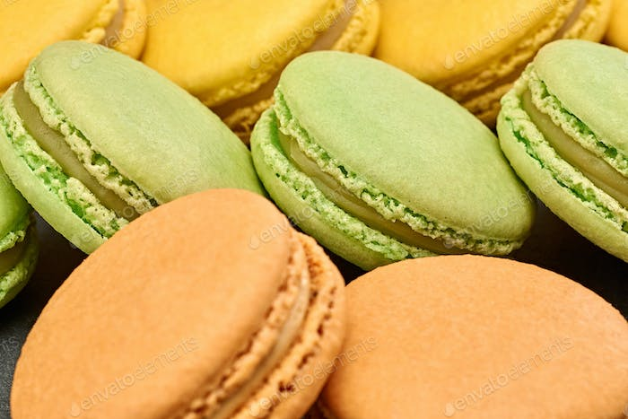 Macarons, french dessert, background. Food closeup