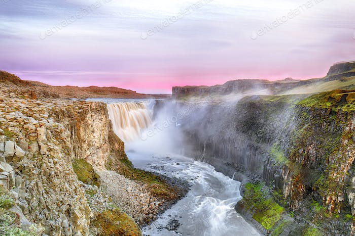 Fantastic view  of the most powerful waterfall in Europe called Dettifoss.