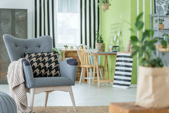 Cozy flat with grey armchair