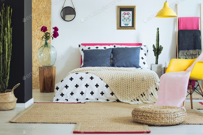 Vividly multicolored folk bedroom
