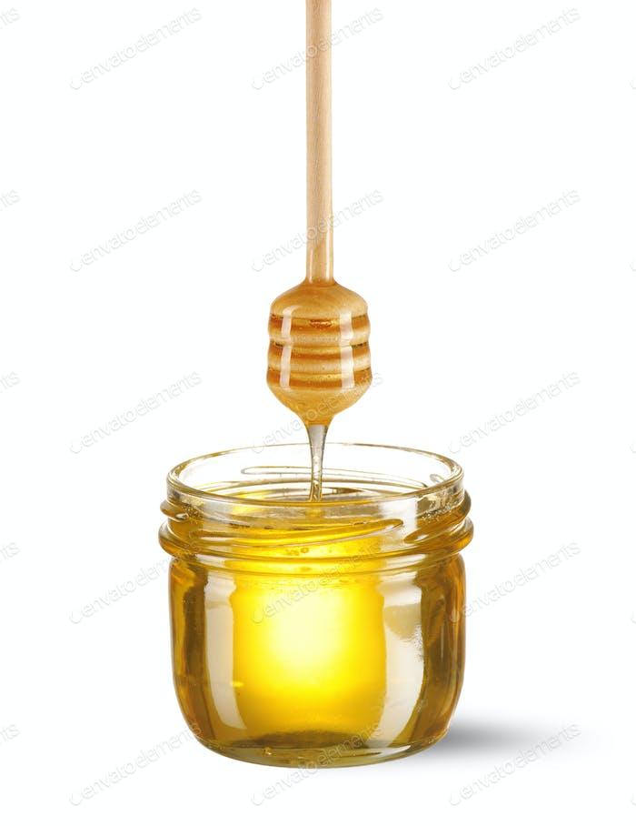 Glas Honig und Dipper