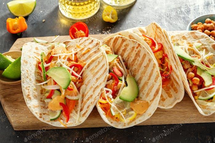 Fresh homemade appetizing vegan tacos