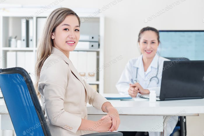 Woman visiting general practitioner