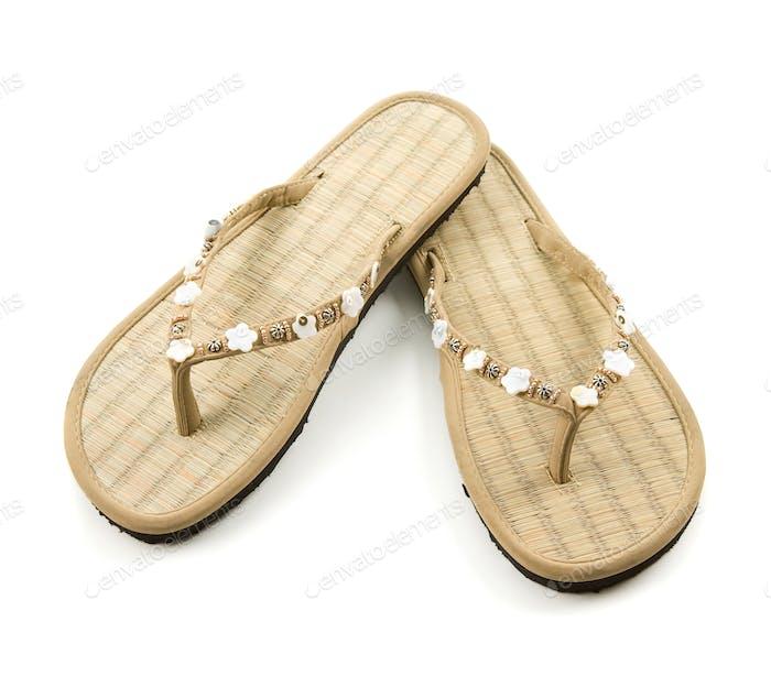 Raffia floral beaded flip flop sandals
