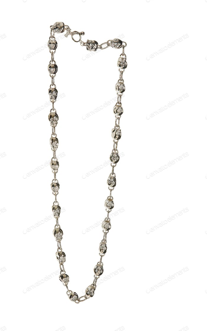 Metal skulls chain necklace
