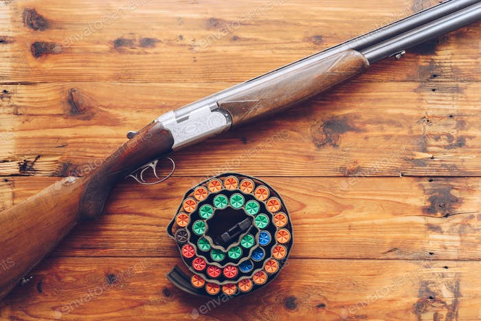 Hunting equipment. Shotgun and hunting cartridges  on wooden tab