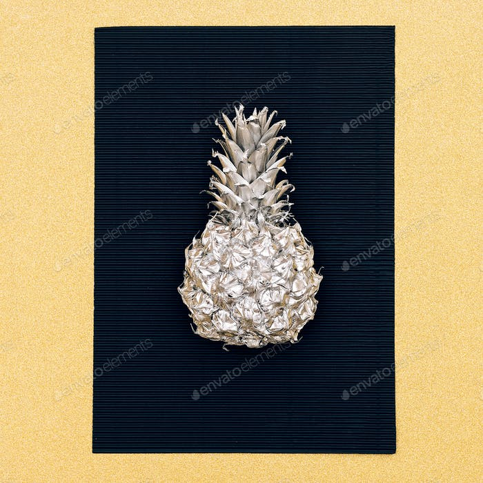 Silver fashion pineapple. Minimal style