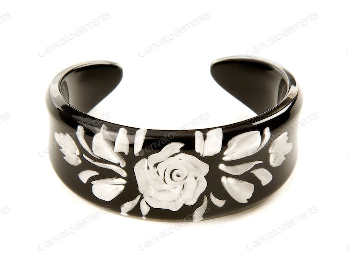 Hand painted pearly white rose black bangle