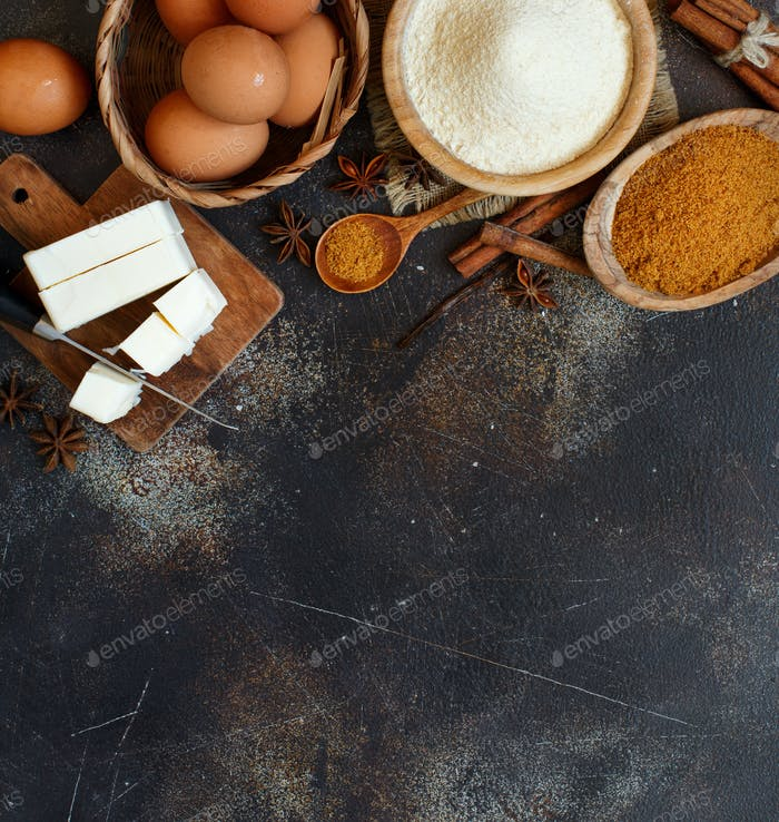 Ingredients and utensils for baking cookies