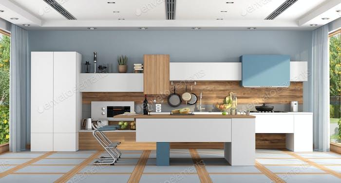 White and blue modern kitchen