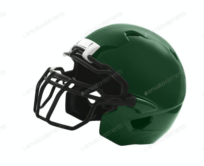 green Football Helmet on white