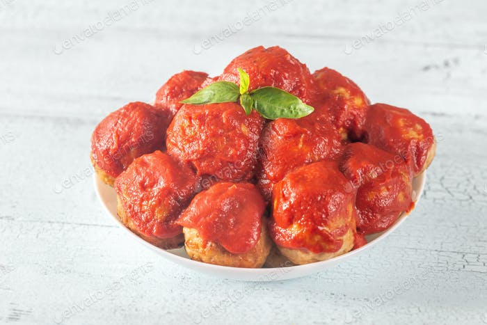 Bowl of meatballs with tomato sauce