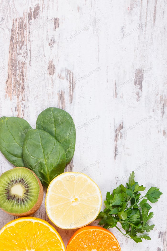 Fruits and vegetables as sources vitamin C, fiber and minerals