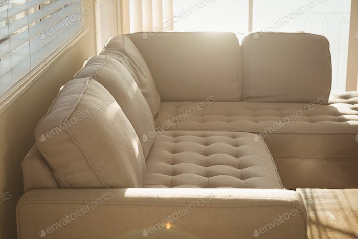 High angle view of sofa