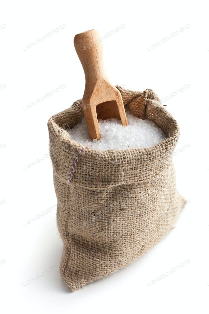 sea salt in jute sack