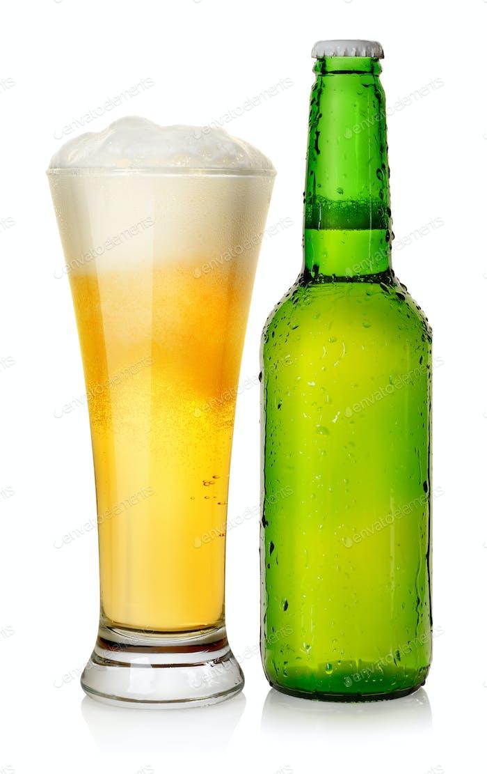 Bottle and mug beer