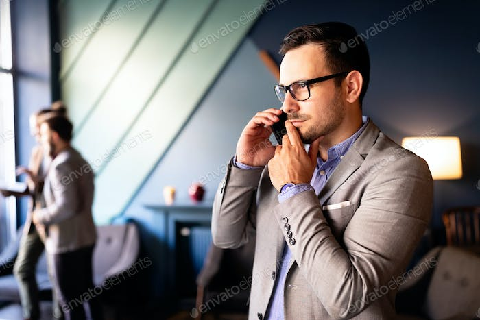Businessman on the phone receiving bad news. Business, stress work concept