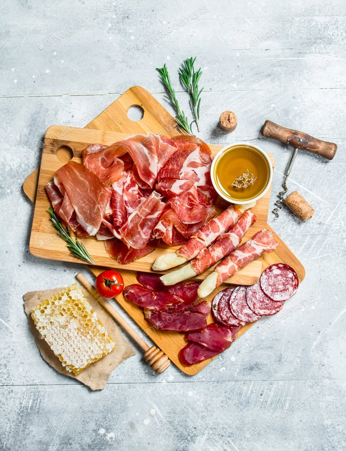 Antipasto background.The various meats.