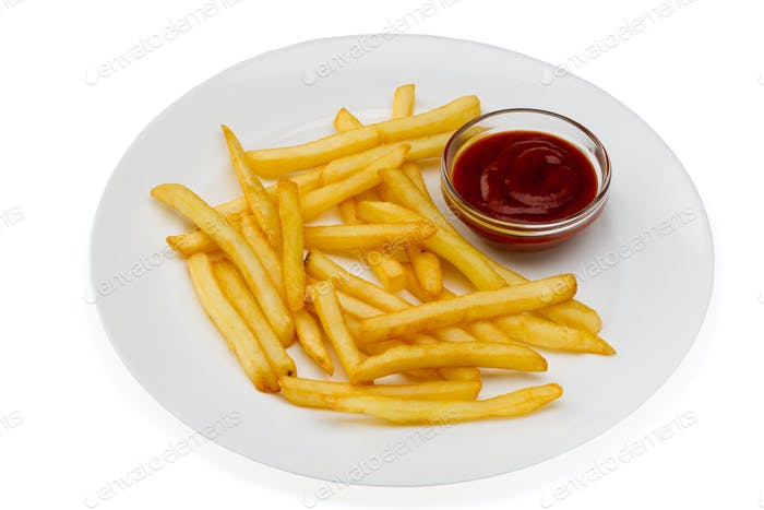 French fries with red sauce on a white plate