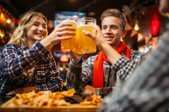 Football fans drinks beer in sports bar