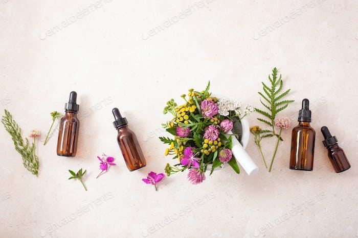 medical flowers herbs in mortar essential oils in bottles. alter