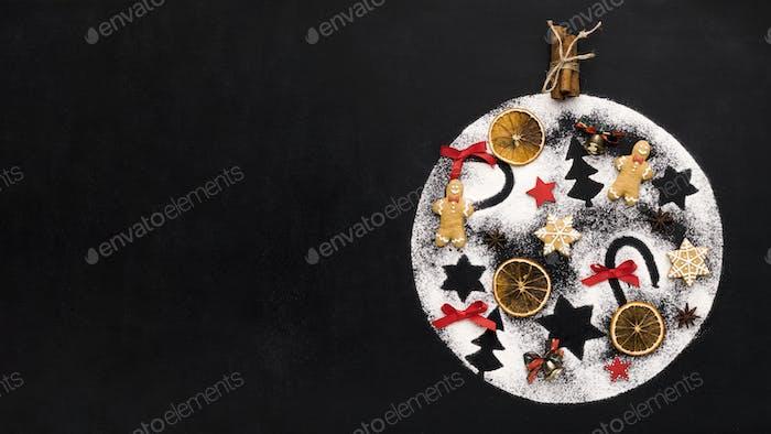 Handmade decoration ball with Christmas tradition figures