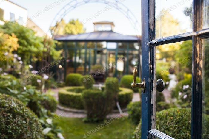 View of garden and open door