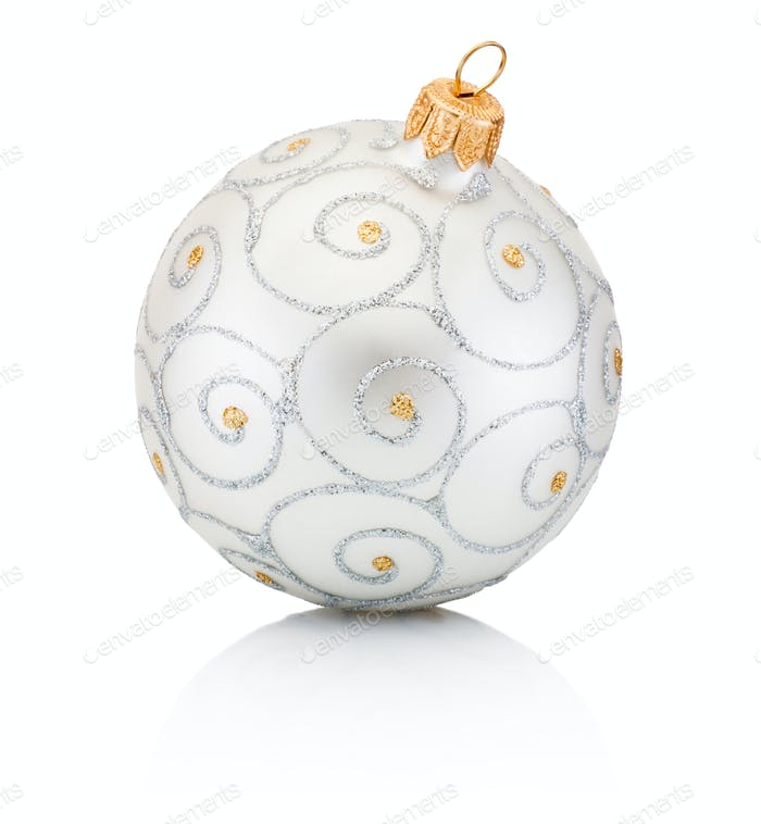 Silvery Christmas bauble Isolated on white background