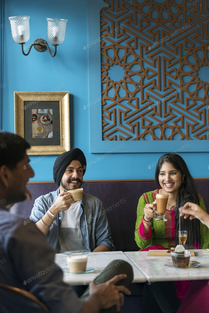 Indian Ethnicity Drinking Cafe Break Coffee Tea Concept