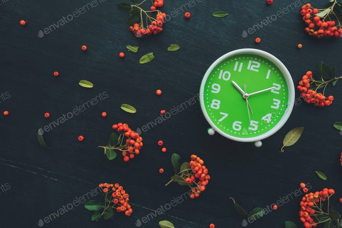 Plastic green clock on dark background, flat lay