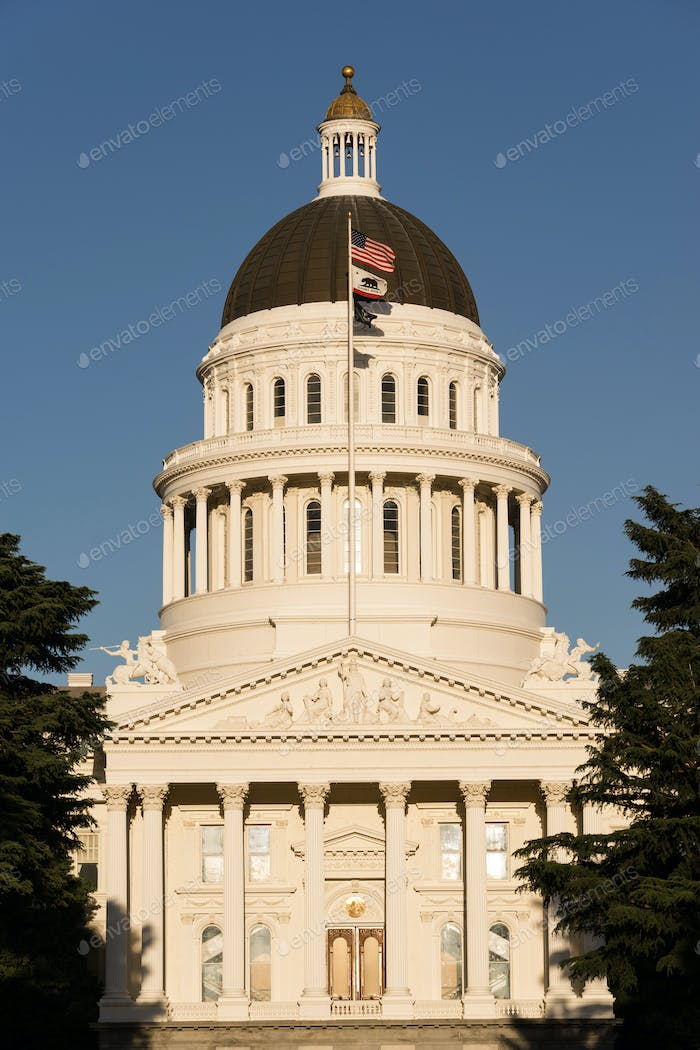 Downtown Sacramento California Capital Dome Building City Skyline