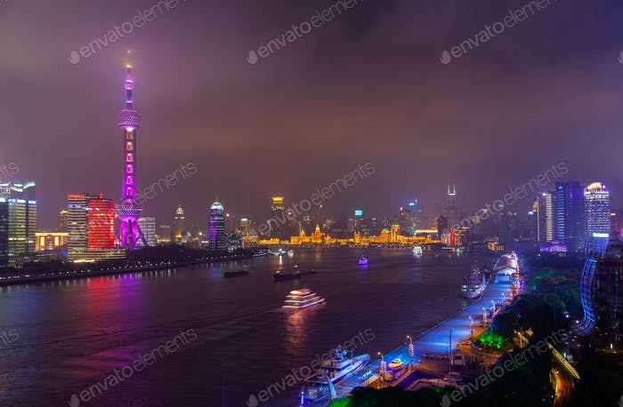 Chinese boats reflected in Huangpu in Shanghai