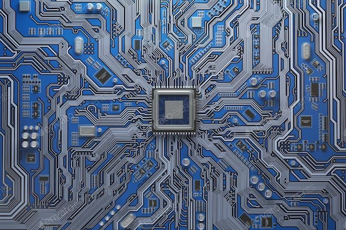 Computer-Motherboard mit CPU. Leiterplatten-Systemchip mit Co