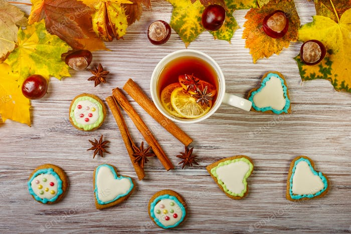 Autumn Cup of tea with gingerbread