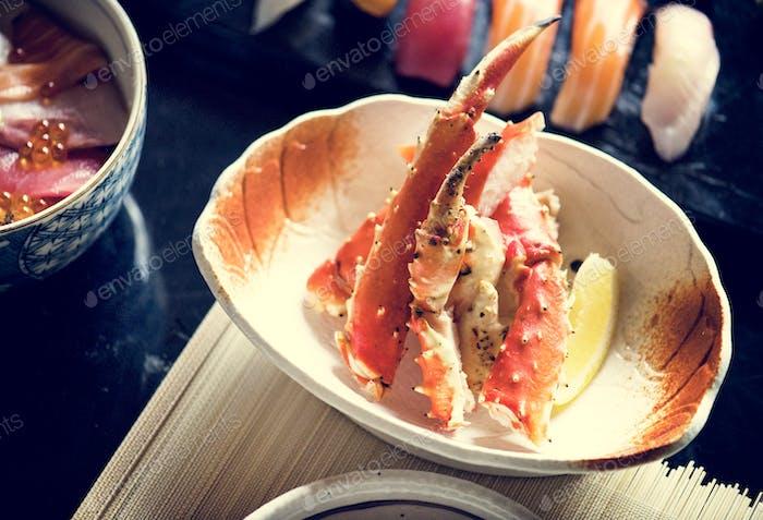 King crab legs traditional japanese dish
