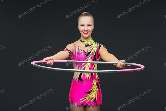 Beautiful teenage gymnast girl
