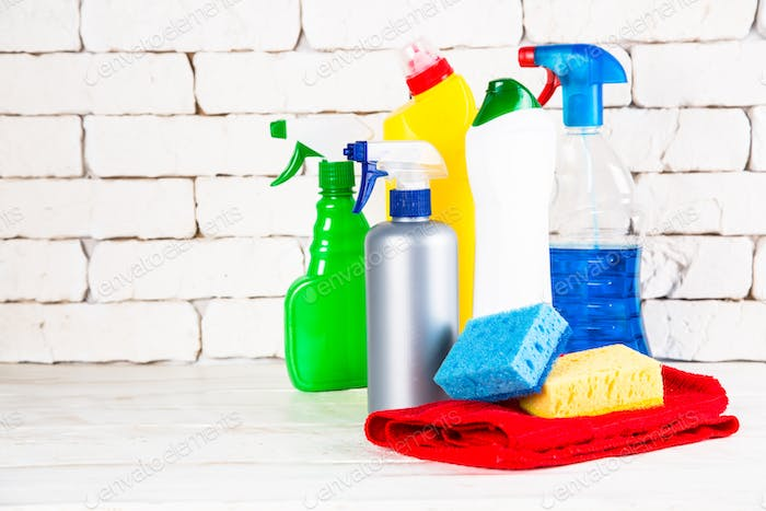 Cleaning product, household on white