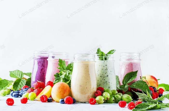 colorful berry smoothies
