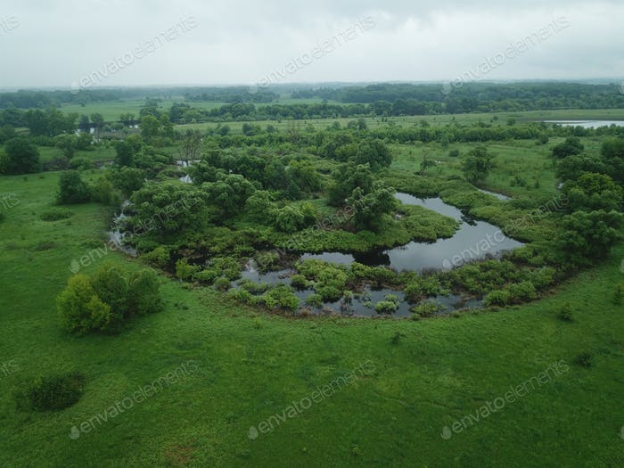Top view of the water, swampy terrain and meadows