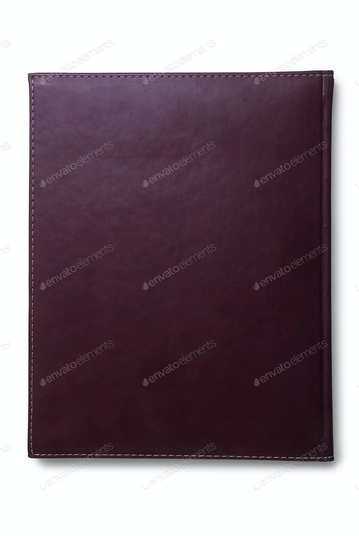 Brown Leather Agenda isolated top view