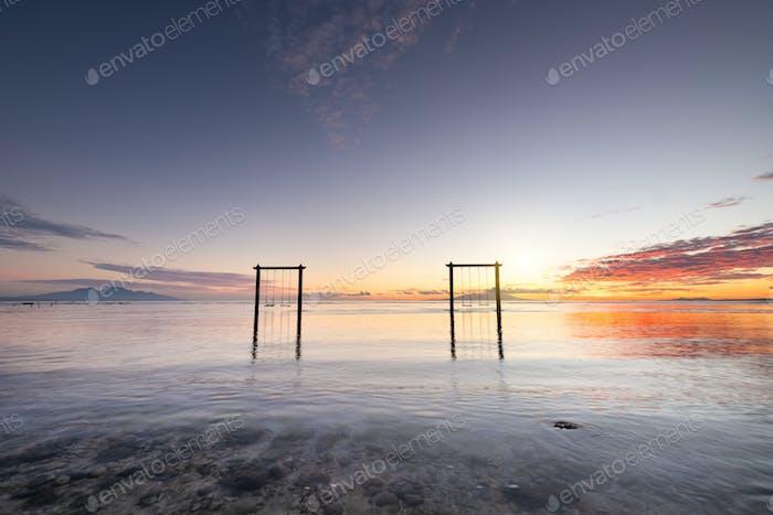 Nusa Penida isalnd, Indonesien. Seelandschaft bei Sonnenaufgang