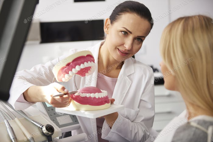 Smiling dentist showing patient the artificial dentures