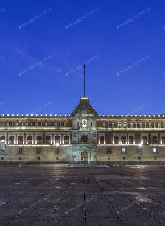 Illuminated Palacio Nacional at night, Mexico City, Federal District, Mexico