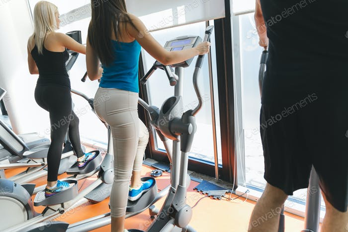 People training in gym