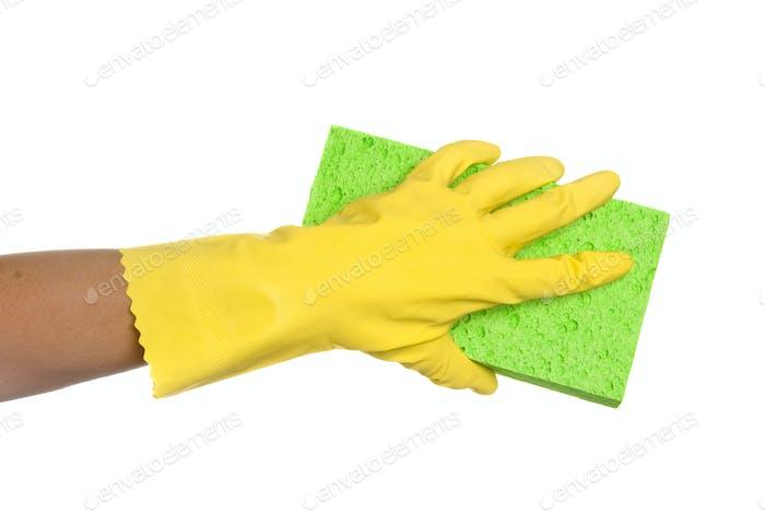 Schwamm und Handschuh