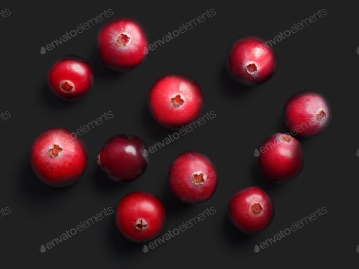 Wild cranberries, top view,  paths