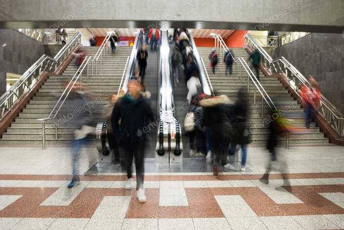 Passengers in the subway station in Athens, Greece. Blurred moti