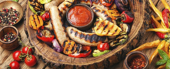 Grilled sausages with pear