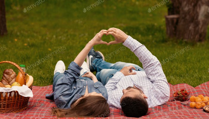 Пара любимцев, делающих сердце руками, чтобы показать свою любовь во время пикника в парке