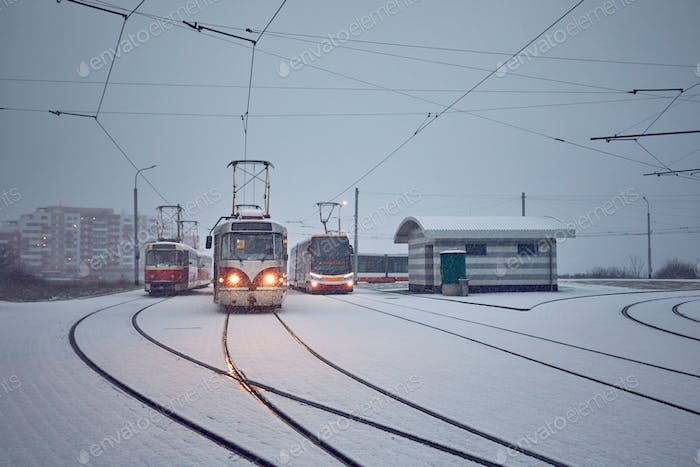 Trams in heavy snowfall
